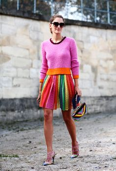 rainbow Valentino. so fab. #SofiaSanchezBarrenechea in Paris. #ATPB