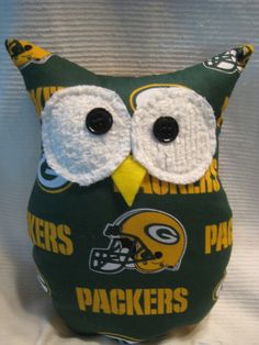 "Hooters Stuffed Owl Pillow ""GBP"" featuring  Green Bay Packers fabric. $14.00, via Etsy."