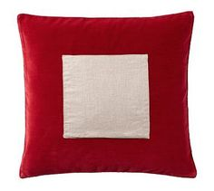 """Velvet Pillow Cover with Monogrammable Patch, 18"""", Cherry"""