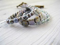 Water Colors Czech Glass Bracelet  Beaded Triple  by DarkRide, $38.00