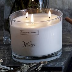 Buy Winter - from The White Company Large Candles, Fall Candles, The White Company, Kitchen On A Budget, Diy On A Budget, Scented Candles, Candle Jars, Chandeliers, Pink Bar