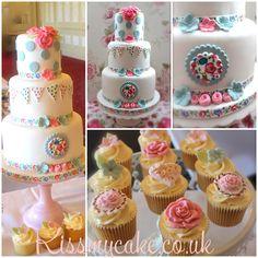 Pretty 3 tier shabby chic vintage wedding cake & Cupcakes by Kissmycake.co.uk  Polka dot, Bunting, Cath Kidston
