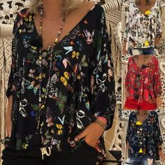 3d1d3420fd771 Elegant Printed Dyed V neck Floral Plus Size Blouse Casual Tops For Women