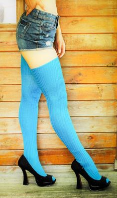 17c3caef01dcc Bright AQUA TURQUOISE Ribbed Thigh high Socks Better than leg warmers -  Extra long Tall Socks