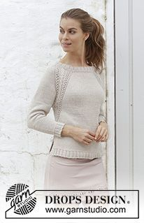 Madrid / DROPS - Free knitting patterns by DROPS Design Madrid / DROPS - Knitted pullover with raglan sleeves, cable pattern, lace pattern and side slits, knitted from t. Lace Knitting Patterns, Coat Patterns, Free Knitting, Drops Design, Cotton Jumper, Work Tops, Cotton Lights, Jumpers For Women, Knit Cardigan