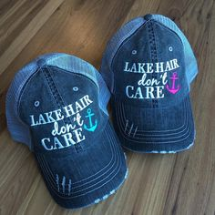Hat {Lake hair don't care} Teal, pink or coral anchor. FREE SHIP!