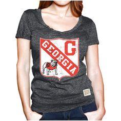 Georgia Bulldogs Original Retro Brand Women's Mock Twist V-Neck T-Shirt - Black - $25.59