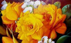Cuadros Modernos Pinturas : Bodegones de Flores Pintados al Óleo
