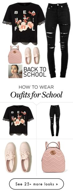 """#Back To School Contest"" by queensalma on Polyvore featuring Hollister Co., River Island, Yves Saint Laurent and Gucci"