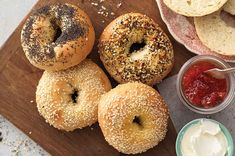 The secret to great bagels? A firm dough and a boil before baking. MN: came out great. made 16 small bagels. used malted milk powder. rose dough in a prewarmed oven, baked convection 425 20 minutes. All You Need Is, Bagel Toppings, Best Bagels, Malted Milk, Flour Recipes, Bread Recipes, Baking Recipes, Sourdough Recipes, Recipes