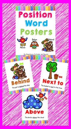 Looking for some Anchor Charts to teach your students about position words? These 7 posters are the perfect introduction to positional words in a elementary classroom.  Position anchor charts included: above below in front behind beside  behind between