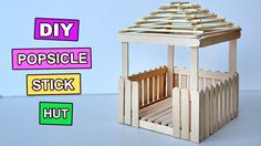 Popsicle Stick Crafts Miniature Relaxing Hut 3 is part of Kids Crafts Popsicle Sticks - Popsicle Stick Crafts Miniature Relaxing Hut 3 Lolly Stick Craft, Popsicle Stick Crafts For Adults, Ice Cream Stick Craft, Popsicle Stick Houses, Popsicle Crafts, Popsicle Stick Birdhouse, Craft Stick Projects, Craft Stick Crafts, Diy And Crafts