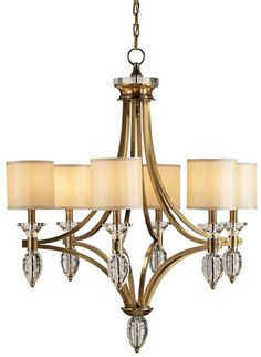 PRODUCT NAME: Sebastian Chandelier DIMENSIONS: 35h x 30w NUMBER OF LIGHTS: 6 SHADES: Beige Shantung MATERIAL: Brass/ Crystal FINISH: Coffee ...