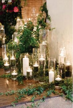 candles & greenery for ceremony