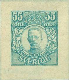 Sweden / Sverige 1918 Gustav V i Medaljong. 55 öre. Facit 92