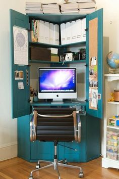Home office desk armoire one used for and a can of paint need this small office space for the new apartment home office furniture computer armoire Small Space Office, Small Spaces, Tiny Office, Corner Armoire, Tv Armoire, Corner Cupboard, Jewelry Armoire, Computer Armoire, Hideaway Computer Desk