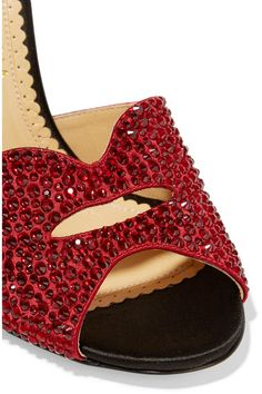 Charlotte Olympia - Agent Provocateur Kiss My Feet Crystal-embellished Satin Mules - Claret - IT35.5
