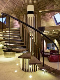 cantilevered stairs in dome home