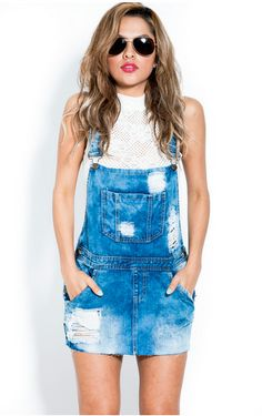 Bleached & Destroyed Denim Overalls  Looks great paired with our crop tops.  100% COTTON MADE IN CHINA