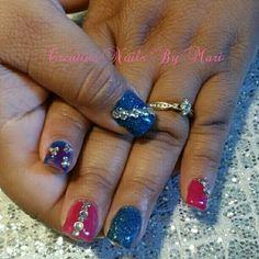Blue pink rhinestones satisfied client