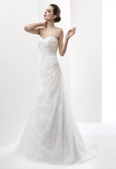 Charming Lace Beading Ruching A-line Sweep/brush Train Tulle Sweetheart Wedding Dresses