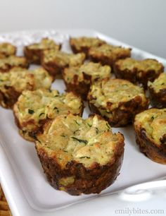 Emily Bites - Weight Watchers Friendly Recipes: Zucchini Tots.  I used a regular muffin tin since I don't have minis and it was really good!  Very flavorful.