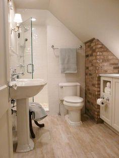 55 Cozy Small Bathroom Ideas & Sloped Ceiling Over Toilet & Loft Conversion Ideas & Small Attic Bathroom & Attic Remodel & Attic Bathroom Plumbing & Houzz Attic Bathroom. Small Attic Bathroom, Attic Master Bedroom, Tiny Bathrooms, Upstairs Bathrooms, Attic Rooms, Attic Spaces, Master Bathroom, Brick Bathroom, Cape Cod Bathroom