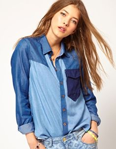 Enlarge Maison Scotch Super Soft Denim Shirt in Patched Fabric