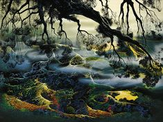 Fog Passes By - by Eyvind Earle (background illustrator for Sleeping Beauty)