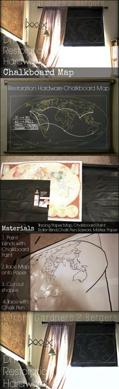 This week's project is inspired by this little beaut from my fav- Restoration Hardware. The Military Chalkboard World is on sale for the low...