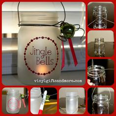 Mason Jar xmas Craft  Items you need:  - Pint size Mason jar  - Wire  2 1/2 feet (heavy duty wire I got at a hardware store)  -Wire Cutters  - Frosted glass spray paint  -VINYL   -Tea light candle  -Ribbon, jingle bells... anything to dress up the glass