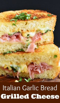 It's made on GARLIC BREAD and loaded with g… Italian Garlic Bread Grilled Cheese. It's made on GARLIC BREAD and loaded with gooey mozzarella cheese, pine nuts, and prosciutto. Hot Sandwich Recipes, Grilled Cheese Recipes, Grilled Sandwich, Soup And Sandwich, Burger Recipes, Recipes With Garlic Bread, Brie Grilled Cheeses, Gormet Grilled Cheese, Recipes