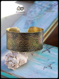 Multi colored brass cuff handforged etched  by AnniamAeDesigns, $43.00