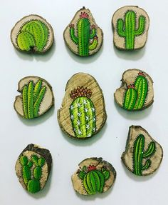hand-painted cactus magnets on logs. – … New hand-painted cactus magnets on logs. New hand-painted cactus magnets on logs. Cactus Craft, Cactus Decor, Cactus Cactus, Garden Cactus, Cactus Diys, Indoor Cactus, Wood Slice Crafts, Wood Crafts, Stone Painting