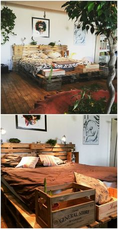 Minimalist Pallet Bed Frame & Headboard - Bed Headboard - Ideas of Bed Headboard - To make this bed frame I used ten pallets and leftover wine crates after family meals.For the mattress 8 pallets were fastened together. Pallet Bedframe, Wood Pallet Beds, Diy Pallet Bed, Diy Pallet Projects, Pallet Furniture, Pallet Ideas, Garden Furniture, Pallett Bed, Furniture Ideas