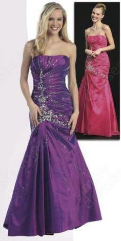Trumpet/Mermaid Strapless Taffeta Floor-length Purple Beading Prom Dress