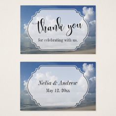 Beach-Themed Wedding Favor Thank You Business Card - wedding thank you marriage thankyou idea diy customize personalize