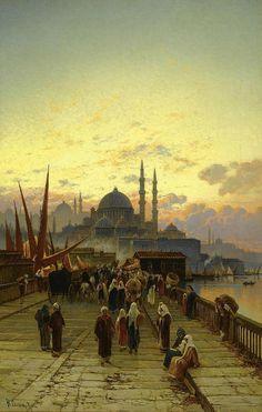 The Galata Bridge (by Hermann Corrodi, 1844 – 1905) #Istanbul