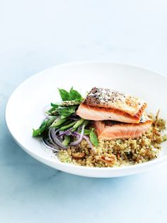Salmon with ginger quinoa (consider coconut oil instead of peanut oil and coconut amino instead of soy sauce)