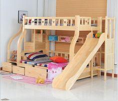 Los niños Camas multifunción ambiental niños litera cama camas de madera con mesa de estudio Niños de diapositivas del cajón