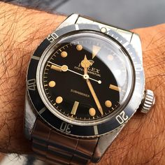 """""""Catched & already released: 6538 Big Crown from 1958 with perfect gilt dial! #rolex #6538 #submariner #bigcrown #rolex6538 #watch #watcheswithpatina…"""""""