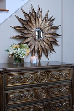 Gold Leaf Chest with Gold Sunburst Mirror - Transitional - Entrance/foyer - Benjamin Moore Grant Beige Gold Sunburst Mirror, Grant Beige, South Shore Decorating, Wall Paint Colors, Elegant Homes, Fashion Room, Home Decor Inspiration, Decor Ideas, Modern Interior Design