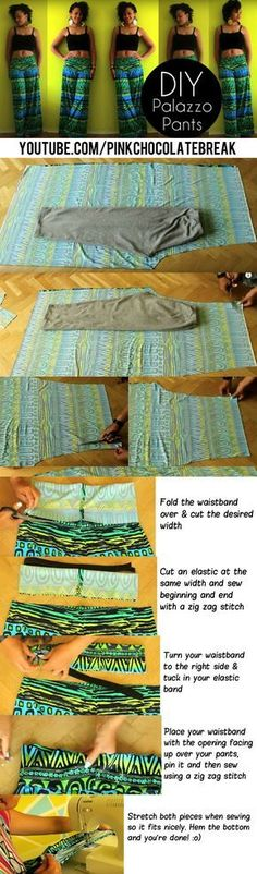 How To Make Palazzo Pants in 20 min  Check out the video tutorial here https://www.youtube.com/watch?v=CvLUC4_lTBY