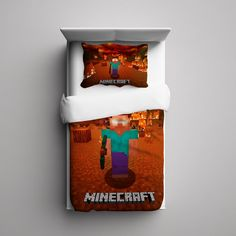 #62+Minecraft+Creeper+Herobrine+Custom+Fleece+Blanket/+Pillow+Case+Bed+Set+Bedding+Single/+Twin