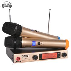 Professional Karaoke Wireless Microphone System V938 Dual Metal Handheld Cordless Mic 2 Channel LED Display Transmitter Receiver #Affiliate