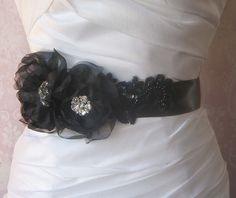 Black Bridal Sash Wedding Belt with Handmade by TheRedMagnolia, $120.00