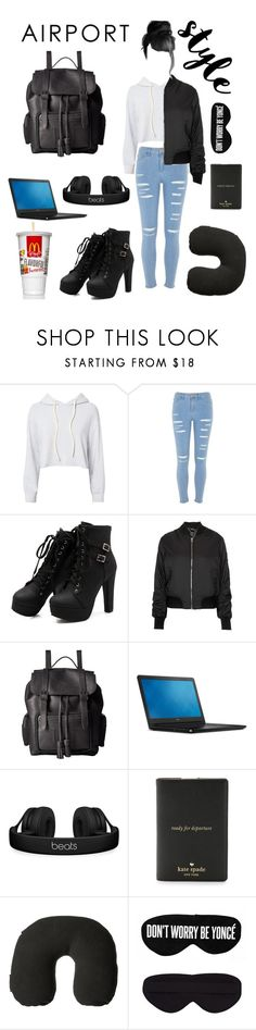 """""""Airport Style"""" by cheeseburger-jones ❤ liked on Polyvore featuring Monrow, River Island, Topshop, Dr. Martens, Beats by Dr. Dre, Kate Spade, Victorinox Swiss Army and Perpetual Shade"""