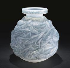 """** René Lalique (1860-1945), """"Salmonides"""" Glass Vase."""