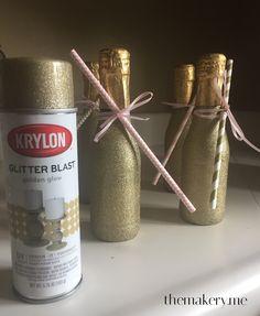 Easy Glittered Mini Champagne Bottles