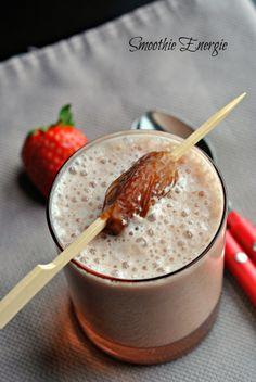 Smoothie Dates,Strawberry,Honey,oatmeal/Dattes,fraises,miel flocons d'avoine